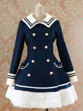 Lolitashow Navy Blue Waist-controlled Sailor Style Lolita Coat