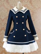 Lolitashow Blu navy Sailor controllato vita stile Lolita cappotto