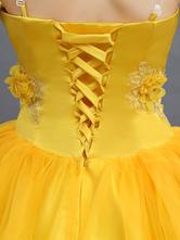 e500b7461daa8 ... ディズニーカートゥーン コスプレコスチューム ハロウィン イエロー ドレス ...