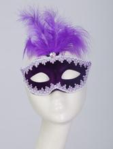 Meia máscara sintética de ouro para mulher de carnaval de Halloween