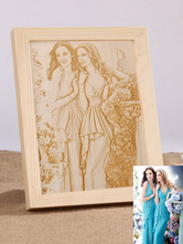 Personalized Wedding Decor Ceremony Anniversary Photo Laser Wood Engrave For Family Friend ( Photo Provide By Customer)