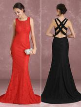 Abendkleider mit Rundkragen Hochzeit Mermaid- Ballkleider Spitze Formelle Kleider ärmellos und Reißverschluss Rot und Schleppe