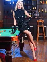 Noir coupe Sexy Catsuit combinaison de PU pour les femmes Halloween
