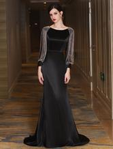Vestido de Ocasião Luxo Lace up com corrente Com Cauda em forma de trombeta/sereia gola redonda com mangas compridas 30cm preta