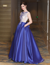 Royal Blue Prom Dresses Long Luxury Satin Evening Dresses Backless Lace Applique Ribbon Sash Contrast Color Formal Occasion Dresses With Train