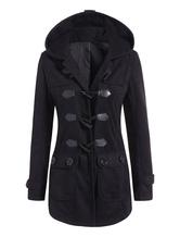 Neuer Trend Horn-Tasten 2019 Frauen Taschen Kapuzeed Wolle lend Mantel