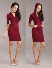 Women's Bodycon Dress Hoodie Dress Burgundy V Neck Half Sleeves Sheath Dress (Made In Italy)