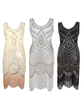 1920s Fashion Style Outfits Great Gatsby Charleston Dresses Two Tone Women's Vanilla Cream Sequined Flapper Dress 20s Party Dress Halloween
