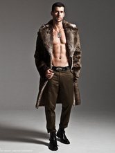 Men Faux Fur Coats Long Sleeve Oversized Collar Winter Coats