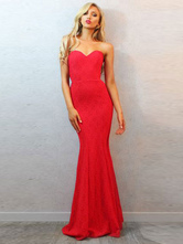Sexy Maxi Dress Red Strapless Sweetheart Sleeveless Slim Fit Mermaid Evening Dress For Women