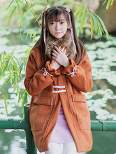 Qi Lolita Coat Long Sleeve Tweed Fringe Two Tone Dark Brown Lolita Overcoat