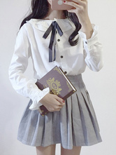 Sweet Lolita Blouse Long Sleeve Two Tone Pleated Ribbons White Lolita Top