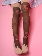 Sweet Lolita Socks Knee High Bear Printed Velvet Dark Brown Lolita Accessories