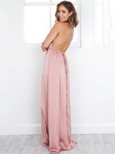 b2751bfc1d ... Women s Maxi Dress Pink Plunging Neckline Halter Sleeveless High Slit  Backless Sexy Long Dress- ...