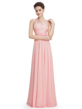 Abito da Galà ballo svasato rosa chiaro con scollo tondo a pieghe a terra di Spalle nude smanicato in raso elastico, imitazione seta,
