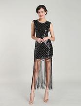 Black Evening Dress Sequin Elastic 1920's Vintage Tassel Cocktail Dresses