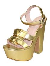 Sandali sexy d'oro alti Piattaforma aperta piattaforma aperta punta per fibbia Sandalo per le donne