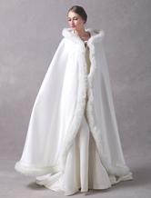Satin Wedding Jacket Long Bridal Cape Cloak Fur Trim Ivory Hooded Ivory Winter Wrap Coat