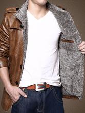 Chaqueta de cuero de los hombres Chaqueta de cuello alto marrón Abrigo de invierno de manga larga Chaqueta casual ajustada