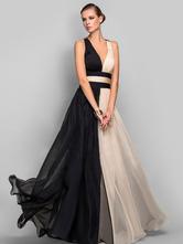 Maxi Party Dress Two Tone Chiffon Plunging Cross Back Women Formal long Warp Dress