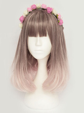 Harajuku Lolita Wigs Curly Brown Tousled Layered Lolita Wigs With Bangs
