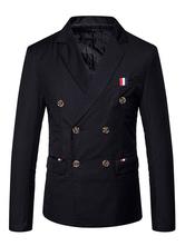 Черный повседневный пиджак пиджак отложным воротником с длинным рукавом двубортный пиджак для мужчин