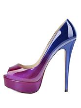 Womens Gradient Peep Toe Heels Platform Stiletto Heel Pumps Sexy Dress Shoes