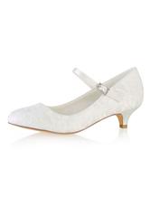 Zapatos de novia 2018 de marfil Zapatos de novia de punta redonda Mary Jane Xfp9W