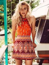 Bohemian Kleider mit Print Sommerkleid im Boho-Style für Sommer Polyester