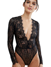 Lace Teddy Black Plunging Neckline Long Sleeve Sheer Women Lingerie