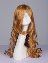 Japanese Anime Wig Central Parting Spiral Curl Long Gold Cosplay Wig