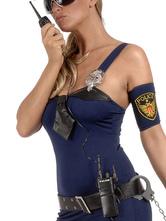 Sexy Cop Costume Interphone Black Plastic Women Halloween Accessory