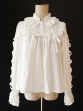 Classic Lolita Blouse Infanta Lace Ruffle Puff Sleeve White Cotton Lolita Top