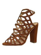 Sandalia de gladiadores marrons com salto alto em nubuck e sandália robusta com grande ponto