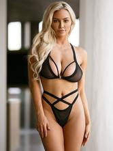 Conjunto sutiã & bra para mulher para em casa cruzado sexy de náilon elástica conjunto de soutiens preta