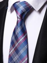 Cravatta formale scozzese blu fibra sintetica
