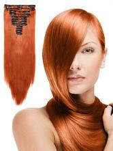 Frauenhaarverlängerung Orange geschichtet gerade lange Haare Scheibe
