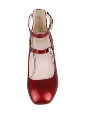 Zapatos de tacón medio de puntera cuadrada de tacón de stiletto estilo modernopara pasar por la noche Charol PU T8ng0UPm