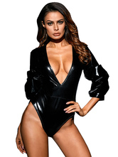 Black Pole Dancing Bodysuit Plunging Neck Zip Up Three Quarter Sleeve Sexy Costume For Women