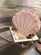 Sac de lolita Douceur en fausse fourrure unicolore rose avec perles Déguisements Halloween