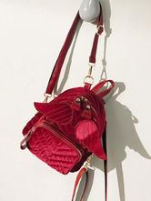 Classic Lolita Backpack Velour Angel Wing Red Lolita Bag