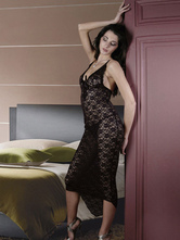 Black Sexy Gown Set Women Lace Up Semi Sheer High Low Lace Dress With Panty