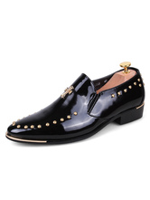 Black Dress Shoes Round Toe Beaded Slip On Shoes Men Loafers