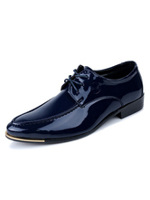 Blue Dress Shoes Men Shoes Pointed Toe Lace Up Casual Business Shoes