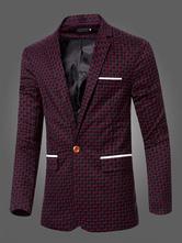 Случайные Мужчины Блейзер One Button Костюм куртки Карманный длинный рукав Хлопок Короткая куртка