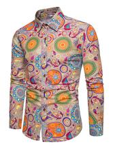 Men Hawaii Shirt Print Linen Top Long Sleeve Shirt Casual Khaki Shirt