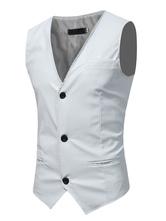 Мужская шкатулка с белым три кнопки Жилет Кожаный костюмный жилет