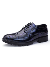 Men Dress Shoes Blue Round Toe Lace Up Printed Casual Business Shoes