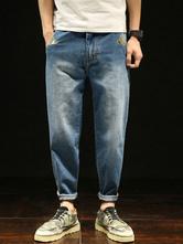 Jeans da uomo harem lungi in denim jeans monocolore chic & moderni éstate