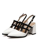 Pointed Toe Heels Women Shoes White Cut Out Slingbacks Chunky Heel Pumps